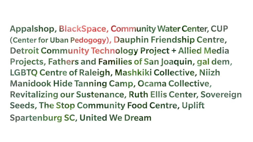 """a white field with mostly motled green lettering """"Appalshop, BlackSpace, Community Water Center, CUP (Centre for Urban Pedagogy), Dauphin Frienship Centre, Detroit Community Technology Project + Allied Media Projects, Fathers and Families of San Joaquin, gal dem, LGBTQ Center of Raleigh, Mashkiki Collective, Niizh Manidook Hide Tanning Camp, Ocama Collective, Revitalizing our Sustenance, Ruth Ellis Center, Sovereign Seeds, The Stop Community Food Centre, Uplift Spartenburg SC, United We Dream"""